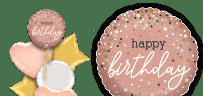 Birthday Rose Gold Sparkle Balloon