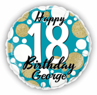 Birthday Age Blue and Gold Dots