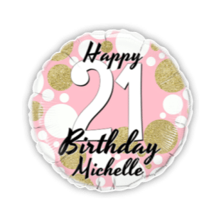 Birthday Age Pink and Gold Dots Balloon