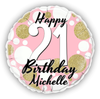 Birthday Age Pink and Gold Dots