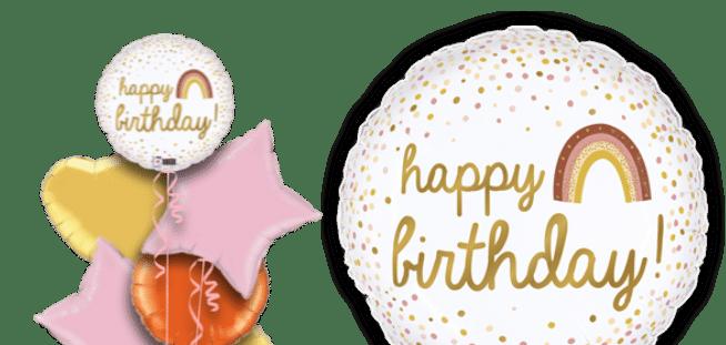 Golden Birthday Rainbow Balloon