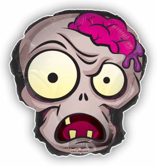 Zombie Skull with Brains