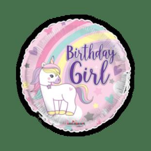 Birthday Girl Unicorn Rainbow Balloon