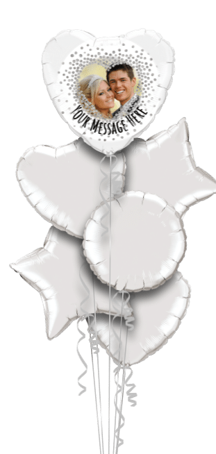 Silver Confetti Heart Balloon