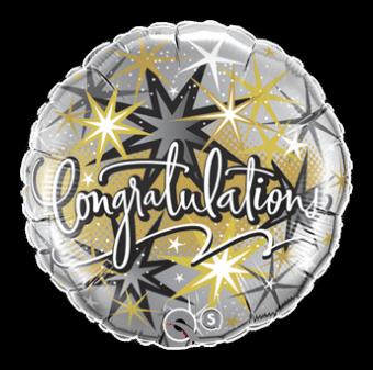 Congratulations Gold and Black Balloon