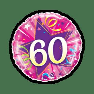 60th Pink Star Balloon