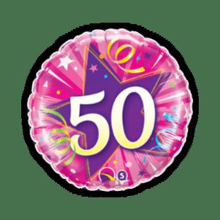 50th Pink Star Balloon