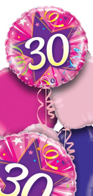 30th Pink Star Balloon