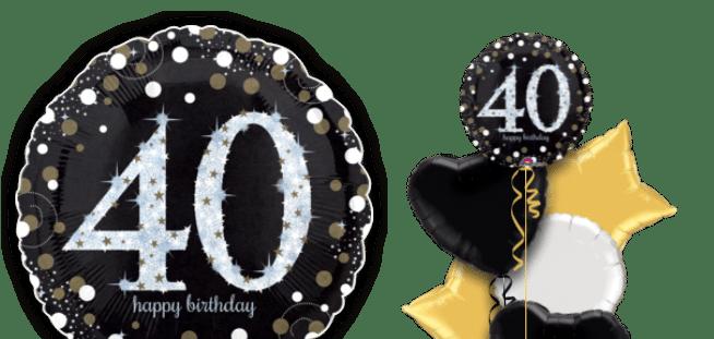 Glimmer Confetti 40th Birthday Balloon