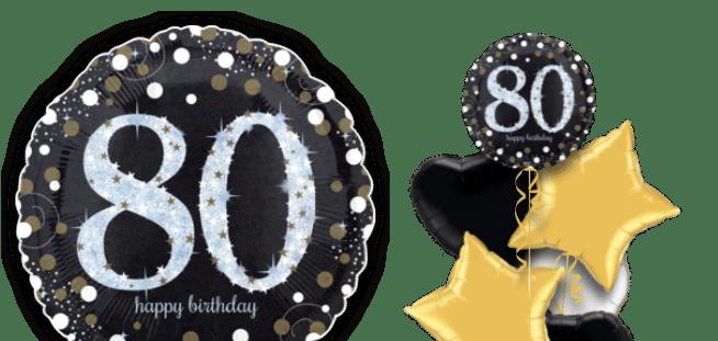 Glimmer Confetti 80th Birthday Balloon