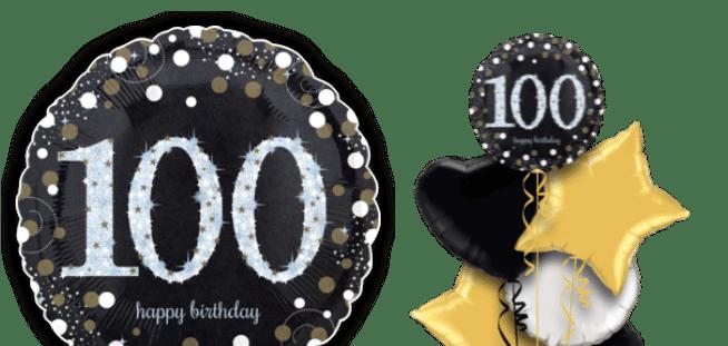 Glimmer Confetti 100th Birthday Balloon