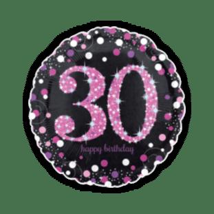 Pink Glimmer Confetti 30th Birthday Balloon