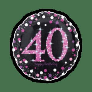 Pink Glimmer Confetti 40th Birthday Balloon