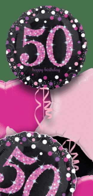 Pink Glimmer Confetti 50th Birthday Balloon