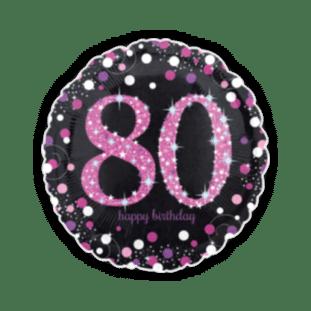 Pink Glimmer Confetti 80th Birthday Balloon