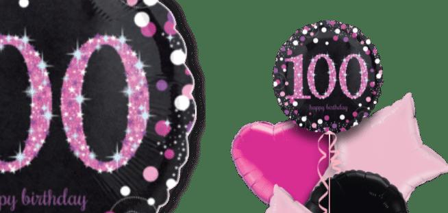 Pink Glimmer Confetti 100th Birthday Balloon