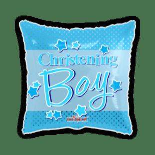 Christening Boy Blue Stars Square Balloon