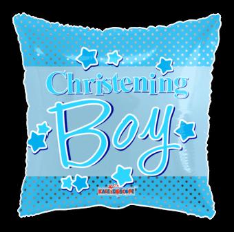 Christening Boy Blue Stars Square