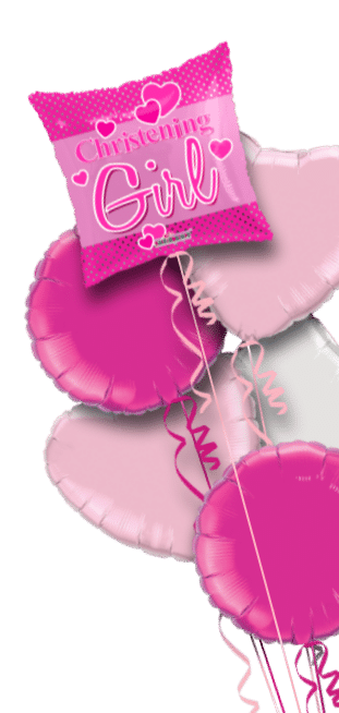 Christening Girl Hearts Square Balloon