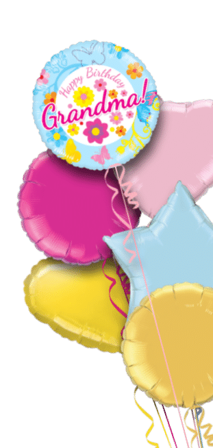 Happy Birthday Grandma Blue Floral Balloon