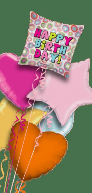 Happy Birthday Retro Pink Flowers Balloon