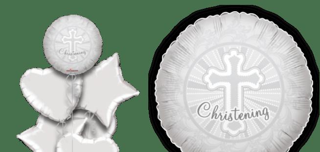 Silver Christening Cross Balloon