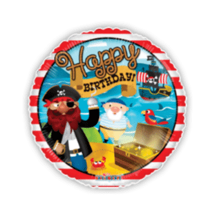 Birthday Pirate Treasure Stripes Balloon
