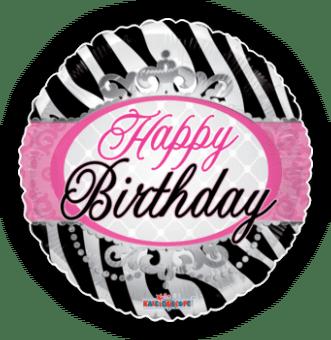 Happy Birthday Zebra Princess Stripes Balloon
