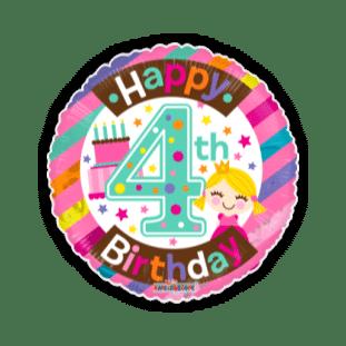 4th Birthday Girl Balloon