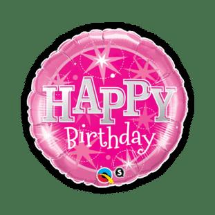Birthday Pink Bright Stars Balloon