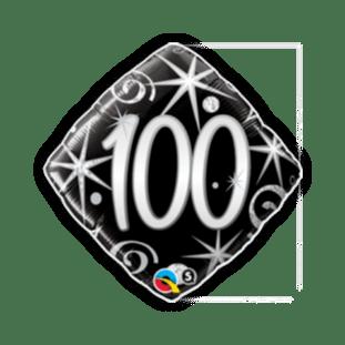 100th Black and Silver Diamond Balloon