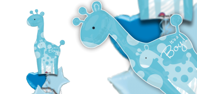 Dad and Baby Blue Giraffe Balloon