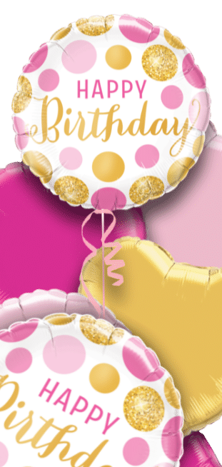 Birthday Pink and Gold Dots Balloon