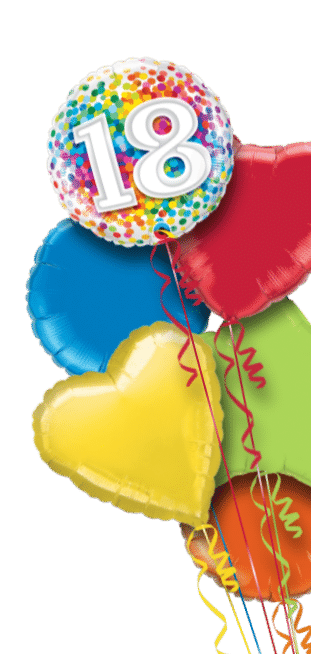 18th Rainbow Confetti Balloon