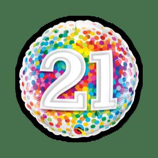 21st Rainbow Confetti Balloon