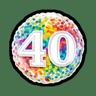 40th Rainbow Confetti Balloon