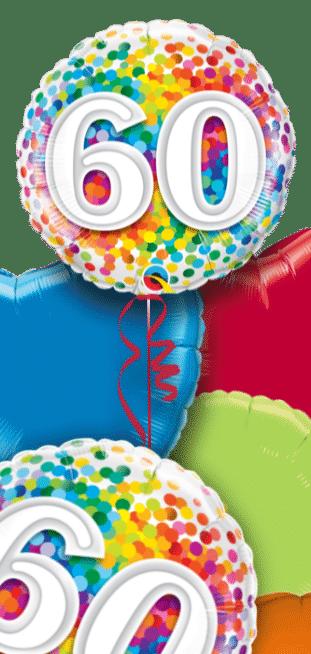 60th Rainbow Confetti Balloon