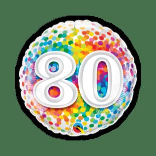 80th Rainbow Confetti Balloon
