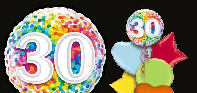 30th Rainbow Confetti Balloon