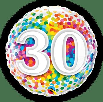 30th Rainbow Confetti