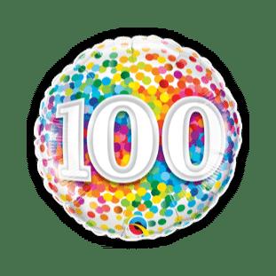 100th Rainbow Confetti Balloon