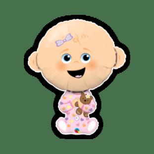 Cute Baby Girl Lighter Skin Tone Balloon
