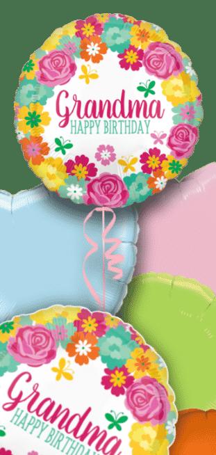 Birthday Grandma Floral Balloon