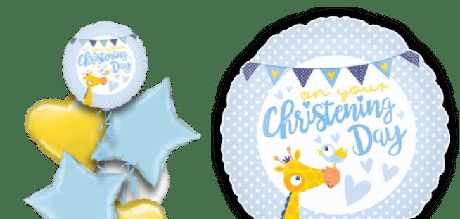 Boy Christening Giraffe Balloon