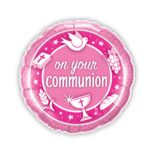 On Your Communion Pink Balloon