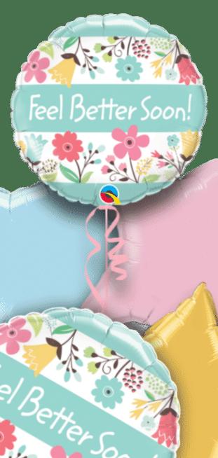 Feel Better Soon Pastel Flowers Balloon