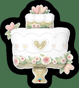Glitter Gold Wedding Cake Balloon