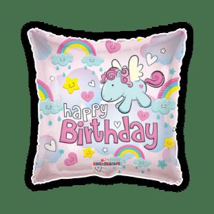 Happy Birthday Unicorns and Rainbows Balloon