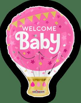 Welcome Baby Girl Hot Air Balloon