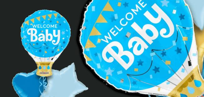 Welcome Baby Boy Hot Air Balloon Balloon
